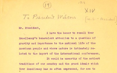 """A 1918 letter from WEB DuBois to President Wilson that discusses the """"race problem"""" that continues to exist in the United States as well as abroad after the events of World War 1."""