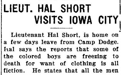 Short newspaper article detailing Lieutenant Hal Short's experiences while training at Camp Dodge during his visit to Iowa City in 1917.