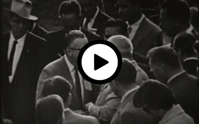 This film shows the news footage of Soviet Premier Nikita Khrushchev's visit to Iowa in 1959.