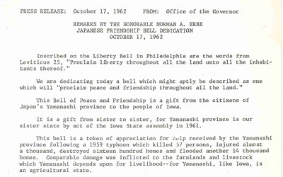 Two page transcript of speech given by Governor Erbe at the dedication of the Japanese Friendship Bell on the grounds of the Iowa Capitol in 1962.