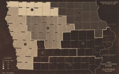 Political map of Iowa showing all 99 counties divided up into districts.  Each region is numbered and shaded according to the average farm size, measured in acres, from 1928-1932.