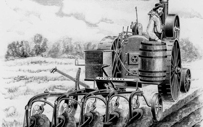 Promotional ad for the New Deal Gang plow to be used with a traction steam engine from 1889.