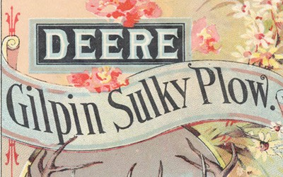 This two-page brochure is color drawings on one side and text description on the other.  The description tells the features of the Gilpin Sulky Plow.