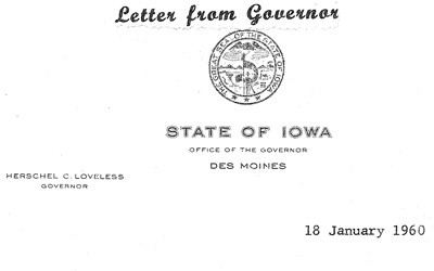 In this letter, Governor Loveless thanks Mr. Lee Norris for his involvement in the hog lift.