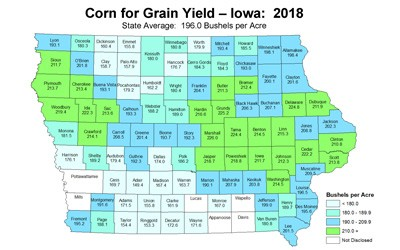 Political map of Iowa showing all 99 counties divided up into regions.  Each county is color-coded and labeled with the average bushels per acre yield for the 2018 growing season.