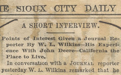 Published article from The Sioux City Daily newspaper of a conversation a local man had with Mr. John Deere while traveling to California on a train.