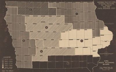 Political map of Iowa showing all 99 counties divided up into regions.  Each region is numbered and shaded according to the average corn yield from 1928-1932.