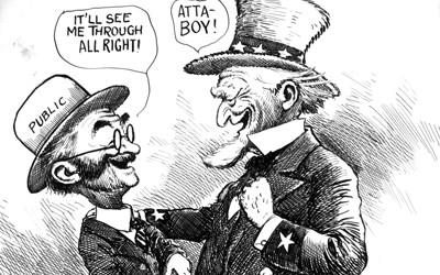 Political cartoon showing Uncle Sam giving John Q. Public money.
