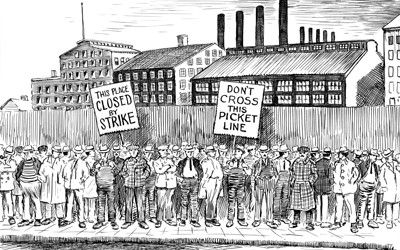 Black and white cartoon  of strikers on a picket line.