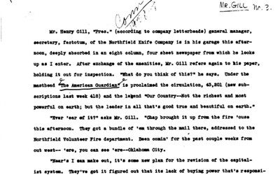 Transcript of an interview conducted during the New Deal.
