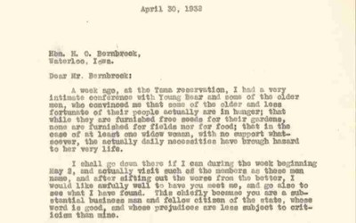 Letter from Edgar Harlan to H.O. Bernbrock