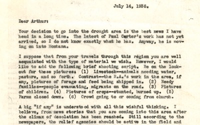 The typed letter outlines instructions for photographer Arthur Rothstein.
