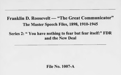 The document is a transcription of a campaign speech given by then President Franklin Roosevelt.