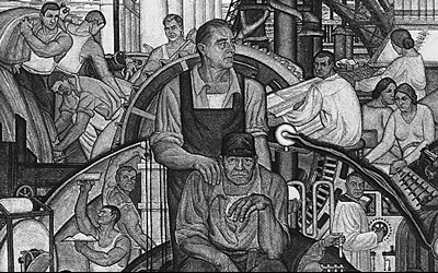 A black and white image of a mural showing a variety of individuals from various backgrounds.