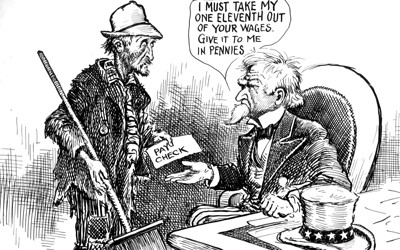 A political cartoon of Uncle Sam asking a disheveled man money for taxes