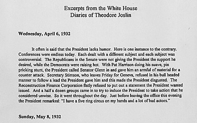 White House Insider Theodore Joslin's Account of the Depression and Herbert Hoover's 1932 Presidential Campaign, 1932