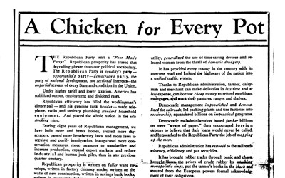 """Political Ad for Herbert Hoover called """"A Chicken for Every Pot"""""""