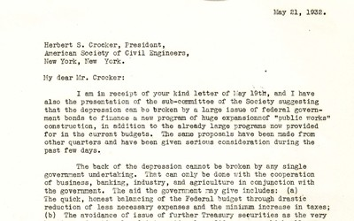 A letter from President Herbert Hoover to Herbert S. Crocker