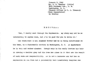 Interview conducted by Bradley with Mr. W.W. Tarpley in Georgia 1940 as part of the Federal Writers' Project