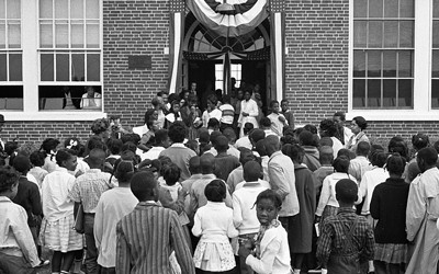 African American school children entering the Mary E. Branch School at S. Main Street and Griffin Boulevard, Farmville, Prince Edward County, Virginia