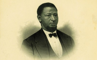 Engraved portrait of Alexander Clark, Muscatine lawyer who initiated an Iowa Supreme Court case to allow his daughter to attend the white-only public school, and U.S. Ambassador to Liberia.