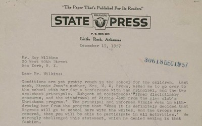 Daisy Bates writes a letter explaining the treatment of the Little Rock Nine to NAACP Executive Secretary Roy Wilkins.