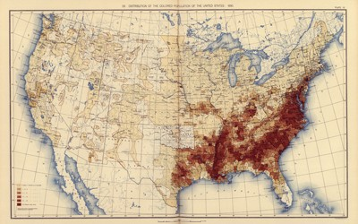 A statistical atlas of the United States that is based on the results of the 11th census, completed in 1890, shows the distribution of the colored population of the country. As can be seen in the distribution map, members of the targeted population predominantly resided in the southeast.