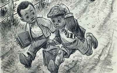 Cartoon shows two African-American boys dressed for school running from a crowd of angry people.