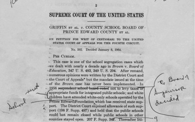The handwritten draft ruling by Justice William O. Douglas indicating his frustration with delays in school integration.