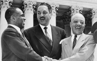 George E.C. Hayes, Thurgood Marshall and James M. Nabrit, congratulating each other, following the Supreme Court decision declaring segregation unconstitutional.