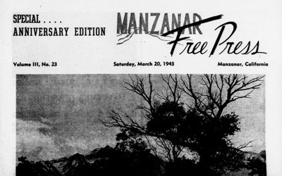 The Manzanar Relocation Center Administration and newspaper of Manzanar Community Enterprises is a publication of a Japanese Internment Camp.  The front page of this edition highlights a piece of writing about how a year has gone by since the author has been at the camp.  In the piece the author discusses dust storms.