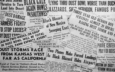 The image shows a collection of headlines from various newspaper about dust storms and the dust bowl.