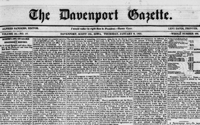 """Engineer's Report"" in The Davenport Gazette, January 9, 1851"