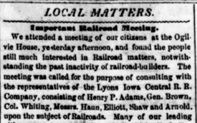 """""""Local Matters - Important Railroad Meeting"""" Newspaper Article, February 24, 1854"""