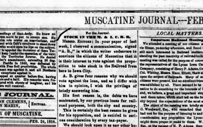 """""""Stock in the M. & I.C.R.R.,"""" February 24, 1854"""