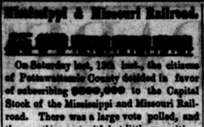 """Mississippi and Missouri Railroad"" Newspaper Article, June 20, 1857"