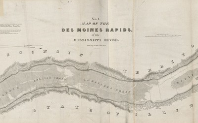 The map provides depth readings for the area of the Des Moines Rapids, a section of the Mississippi River. The map is oriented with north to the right. West is at the top of the page.