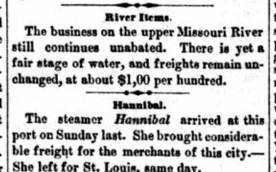 """""""River Items"""" Newspaper Article about Council Bluffs, Iowa, June 6, 1857"""