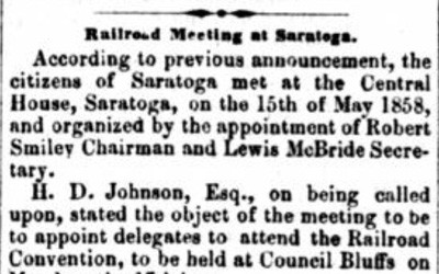 """Railroad Meeting in Saratoga"" Newspaper Article, May 22, 1858"