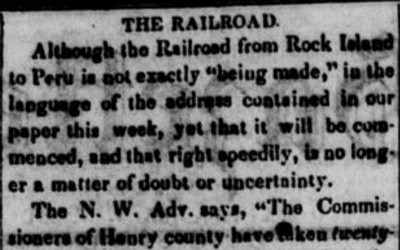 """The Railroad"" Newspaper Article, December 20, 1849"