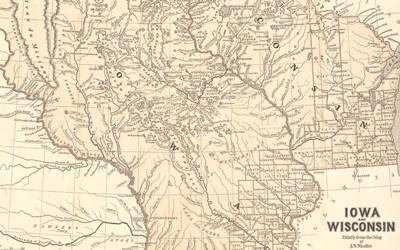 This map of the Iowa and Wisconsin Territories includes the physical features of rivers and lakes as well as human features of indigneous populations, county lines, and towns/cities.