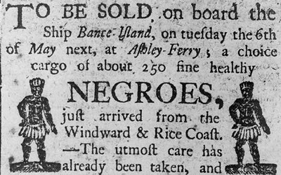 """Advertisement for Sale of """"Negroes"""""""