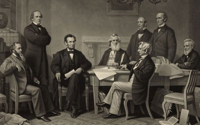 """""""The First Reading of the Emancipation Proclamation Before the Cabinet,"""" 1866"""