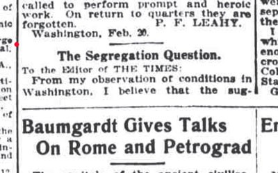 """""""The Segregation Question"""" Letter to the Editor, February 22, 1915"""