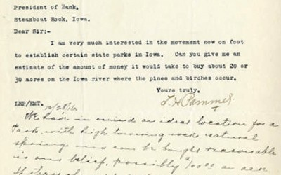 A letter from Professor Pammel to the President of the bank in Steamboat Rock.