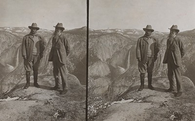 Theodore Roosevelt and John Muir on Glacier Point.