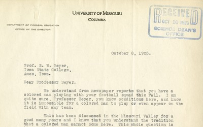 A letter written by C.L. Brewer, Director of the Department of Physical Education at the University of Missouri, to Iowa State College and Professor S. W. Beyer stating that Jack Trice would not be allowed to play in their upcoming game between the two schools.