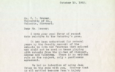 """A letter written by S.W. Beyer to C.L. Brewer and the University of Missouri responding to their """"request"""" that Jack Trice not play in their game, informing that he would not be attending the game because of his death."""