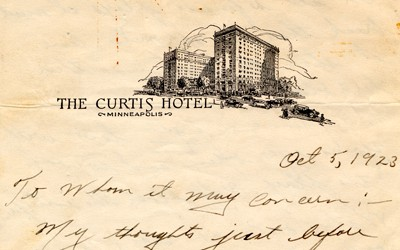 A letter written by Jack Trice from the Curtis Hotel the night before his 2nd game of the season.  He describes the significance of him playing in the game, and what he would face during the contest.