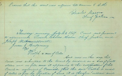 Judgment from Iowa Supreme Court Chief Justice Charles Mason in Montgomery v. Ralph.